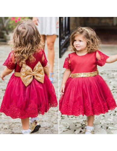 Toddler Baby Girls Party Wedding Baptism Christening Gown Sequins vintage Dress 1st year birthday baby infant clothing