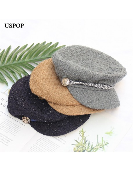 058b9674fe6 USPOP 2018 New women winter hat fashion tweed newsboy caps vintage solid  color flat top visor