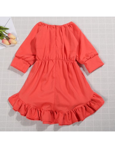 Newest Toddler Girl Princess Vintage Dress Solid Color Retro Waistband Casual Sundress Autumn Outfit Long Sleeve Party Dress New