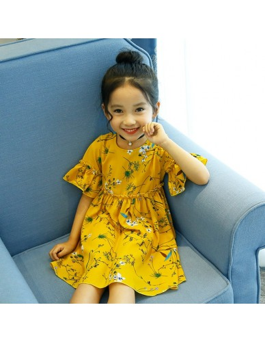 Baby Girls Dress Summer Beach Style Floral Print Party Dresses For Girls Vintage Chiffon Toddler Girl Clothing Height 95-130cm