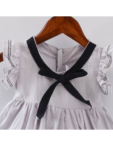 Girls Navy Dress 2018 Summer Cotton Girls Clothes Bow Vintage Cute Style Kids White Clothing Toddler Girl Mini Princess Dress