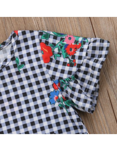 Fashion Toddler Baby Girls Clothes Cotton Kids Floral Flare Sleeve Dresses Vintage Pageant Clothing Sundress Girl Dress