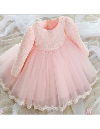2018Spring Autumn Vintage Princess Style Baby Birthday Dress Lace Big Bow Girls Party Dresses Kids Children Toddler Girl Clothes