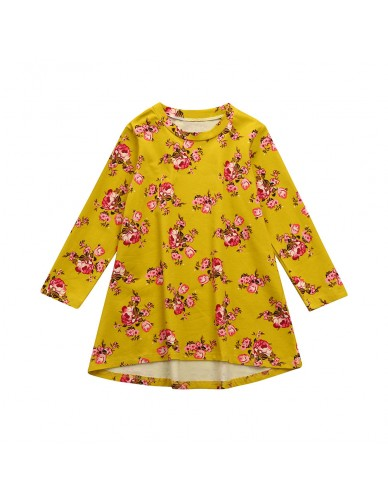 2018 Autumn Baby Girl Dress Cotton Infant Floral Print European Style Vintage Long Sleeve Toddler Dresses Birthday Baby Clothes