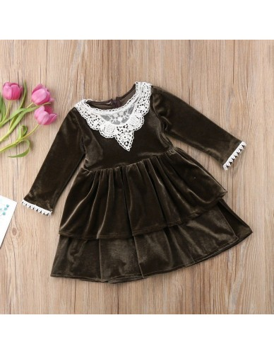 2018 Time-limited Baby Autumn Winter Toddler Girls Vintage Lace Long Sleeve Party Dress Dresses Sundress 6m-4t High Quality