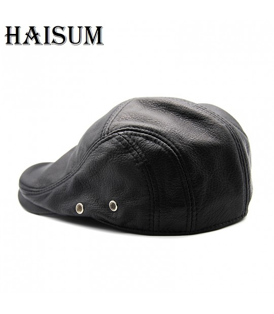 a503af971d7cb1 ... 2018 Sale New Brand Fashion Genuine Leather Cadet For Man Baret Cowhide Flat  Cap Cabby Hat ...