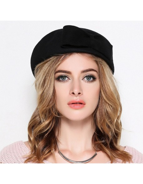 Pure Wool Felt Fascinator Wedding Hat Pillbox Hat for Women Cocktail Party  Vintage Lady winter Solid 148ed70d604