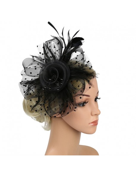 a964372379731 Fascinators Hat for Women Cocktail Tea Party Headband Kentucky Derby Flower  Mesh Ribbons Feathers Hair Clip View larger