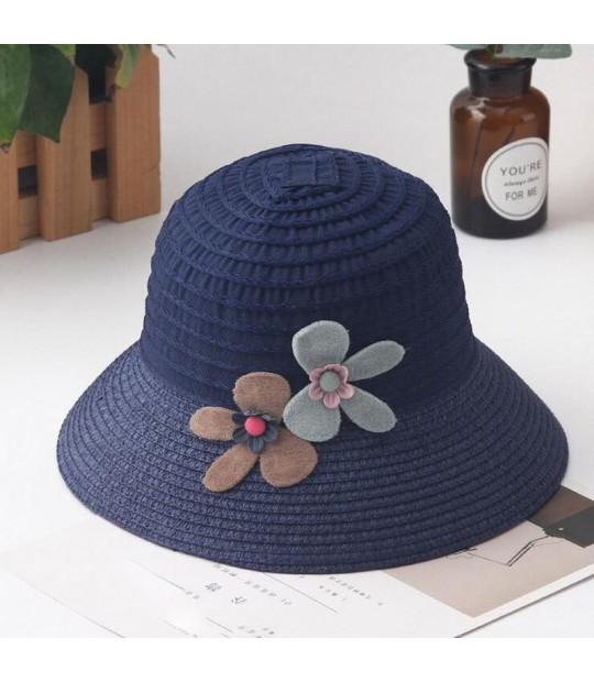 f09bfe30f0f ... Summer Holiday Sun Hats For Girl Foldable Straw Large Brim Summer Hats  Vintage Simple Folding Flower ...