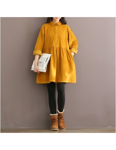 high quality vintage corduroy long sleeve peter pan collar mori girl yellow red women dress autumn winter casual ladies dresses