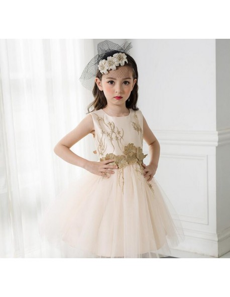 7e9862edfaf Flower Girl Dress Champagne Toddler Children Clothing Kids Clothes For Girls  Sleeveless Vintage Fashion Wedding Party