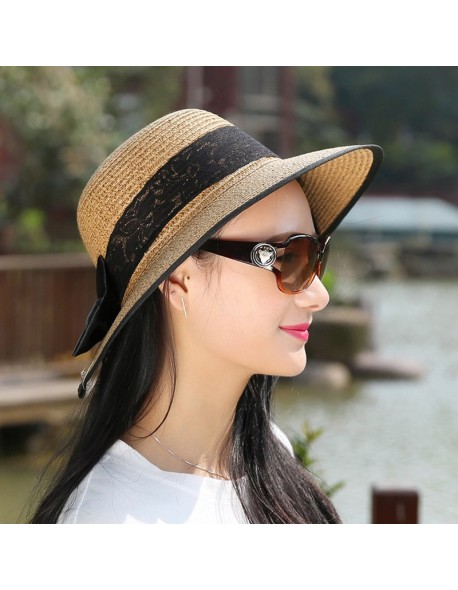 2018 Summer Women Fashion Sun Hat Sweet Elegant Vintage Bowknot Outdoor Sun-Proof  Lady Beach 6691bf4aeb4