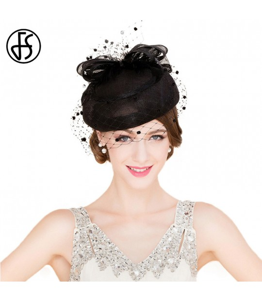 8db20f35605 ... FS Classic Vintage Women Sinamay Pillbox Hat Church Fascinators Black  Ladies Linen Wedding Fedora With Veil