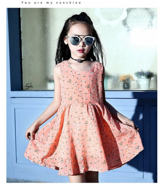 25bd07eb8 Baby Girl Dress Beach Style Floral Print Party Ball Gown Love Back...