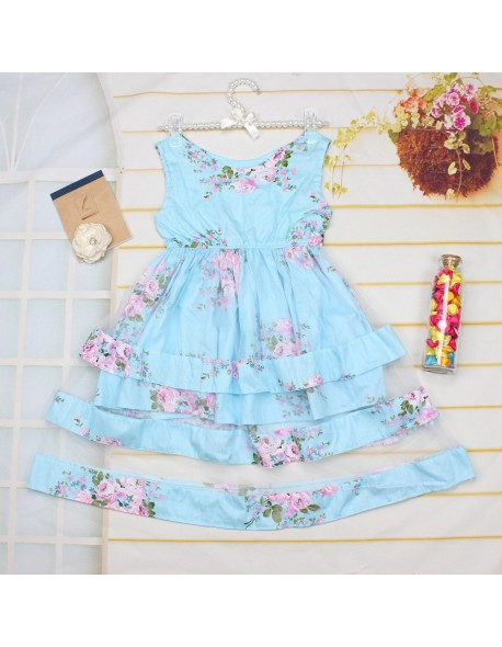 Summer Baby Girls Dress Beach Style Children Lace Floral Print Party Dresses For Girls Vintage Toddler Girl Ball Gown Clothes