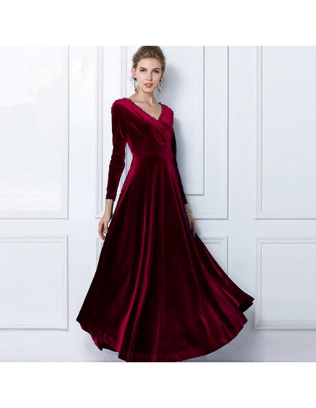 2018 Autumn Winter Dress Women Elegant Casual Long Sleeve Ball Gown Dress  Vintage Velvet Party Dresses Plus Size ukraine 3XL