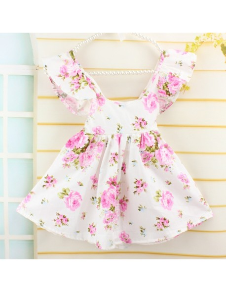 13565054991c0 Fashion Pink Floral Printed Baby Girls Dresses summer Brand Princess Dress  Casual Costume Kids Clothes Toddler