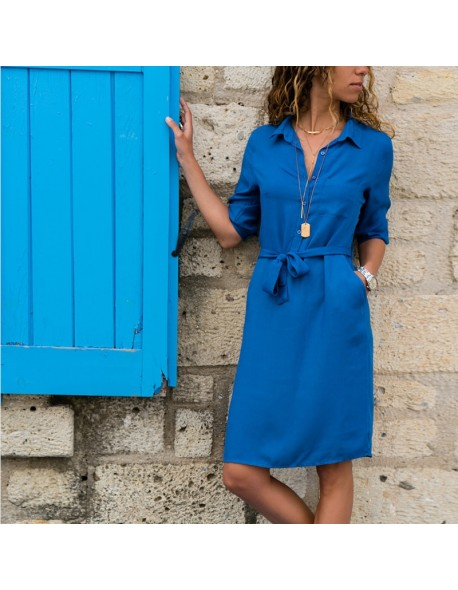 Vintage Button Bandage Shirt Dress Female 2018 Autumn Winter Solid Three Quarter Sleeve Knee Length Vestidos Casual OL Dresses