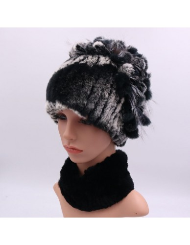 14ffe42a4e51a 100% Real Rex Rabbit Fur Hat Neck Scarf Sets For Women Casual Female Caps  Scarves
