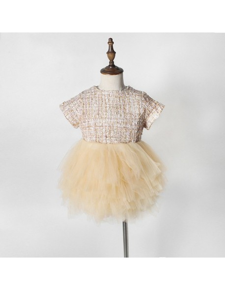 3045f7b4fa Infant Toddler Mesh Tutu Dress Sweet Princess Ruffles Vintage Champagne  Color Dresses For 0-36M