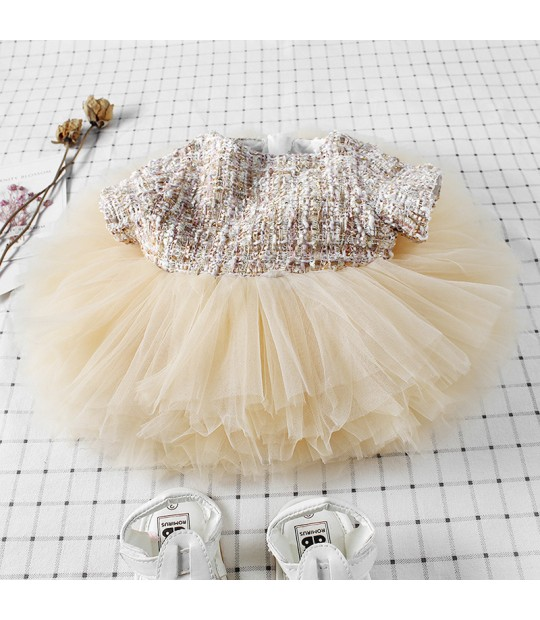 f23f612202 ... Infant Toddler Mesh Tutu Dress Sweet Princess Ruffles Vintage Champagne  Color Dresses For 0-36M ...