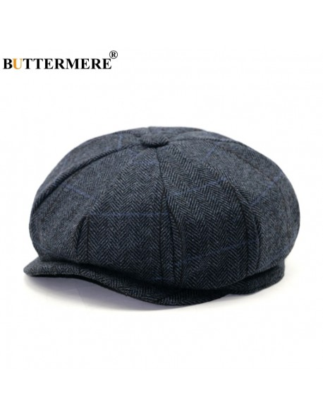 36d464bfa BUTTERMERE Black Khaki Herringbone Newsboy Cap Men Vintage Tweed Wool Flat  Caps Striped Spring Female Hats Octagon Beret