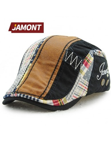 JAMONT Brand Fashion British Style New Vintage Belets Flat Cap Boina Hat for Men England British Retro Cotton Striped Beret Caps