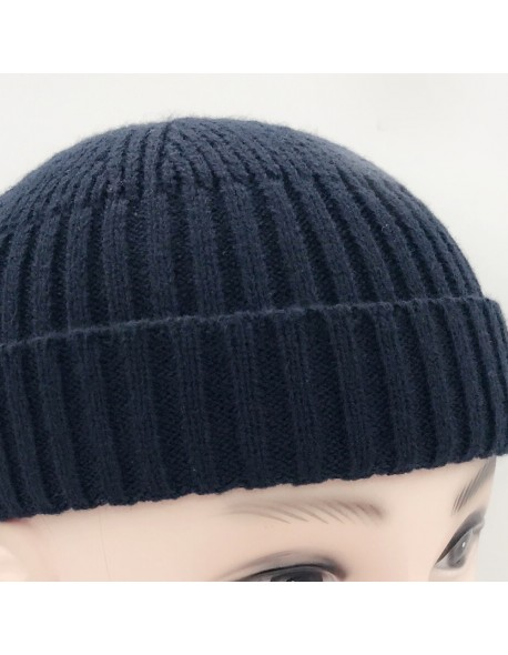 92696433a Vintage Fashion Men Knitted Hat Beanie Skull cap Sailor Cap Cuff Brimless  Black Navy Grey Retro