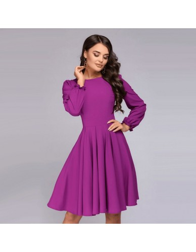 Women Elegant Vintage A Line Dress Ladies Long Sleeve O Neck Party Dress 2018 Autumn New Arrival Office Lady Knee-Length Dress