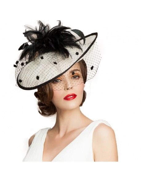 fdf5eae2ca40b FS British Women Hat Sinamay Black White Church Hats Fascinator Wedding  With Veil Feather Elegant Large