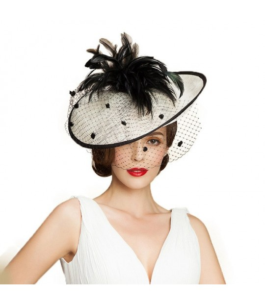 deda946e88802 ... FS British Women Hat Sinamay Black White Church Hats Fascinator Wedding  With Veil Feather Elegant Large ...