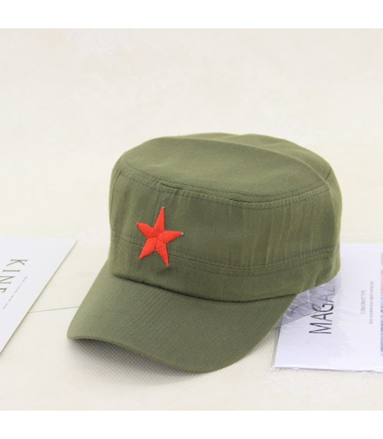 870d5e120d6 ... New classic military caps Unisex Vintage Army Sun caps adjustable Solid  Colors Red Star Embroidery Cap ...