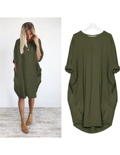 2018 Hot Sale Autumn Winter Womens Fashion Pocket Loose Dress Ladies Solid Crew Neck Casual Long Tops Dress Plus Size vestido
