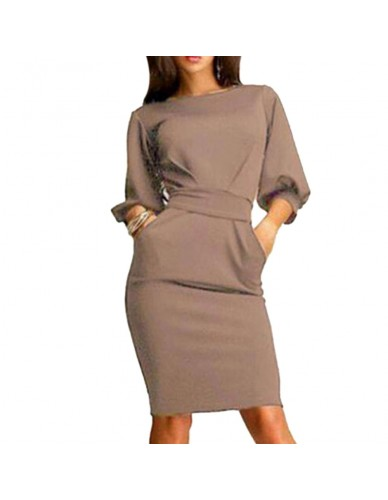 Hot 2018 Women Work Dress Autumn Summer Half Sleeve O-Neck Elegant Ladies Bodycon Bandage Slim Sashes Dresses Vestidos