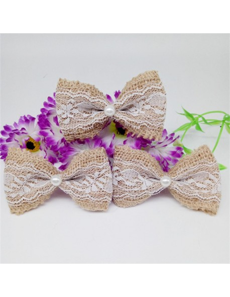 100pcs Jute Burlap Hessian Ribbon Cute White Lace Bowknot Vintage