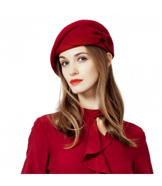 4f9f01c2fc4 ... FS Ladies Red Wedding Hat For Women Vintage 100% Wool Felt Pillbox Hats  Black Fascinator ...