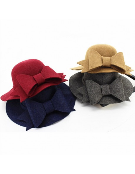 0be47abf504 2018 Bow Tie Fedoras Felt Hats Women Autumn Winter Cap For Women Europe  Classic Girl Vintage