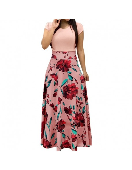 NIBESSER Women Elegant Floral Print Summer Patchwork Maxi Dress 2018 Casual Short Sleeve Vintage Boho Beach Long Dress Vestidos