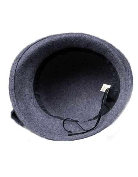 4624fb5eb3ca9 FS Elegant Bowknot Ladies Wool Felt Bowler Black Red Fedora Hats For Women Wide  Brim Vintage