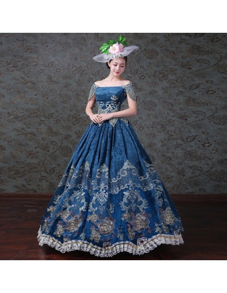 a2f7f5770c7 Royal Blue Gothic Lace Evening Gown Reenactment Victorian Dress Prom Gown    Hat Theater Women Clothing