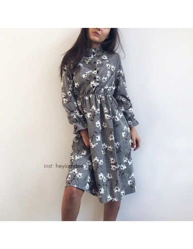 Corduroy High Elastic Waist Vintage Dress A-line Style Women Full Sleeve Flower Plaid Print Dresses Slim Feminino 18 Colors