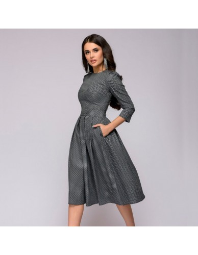 Women Dress 2018 Fall Printing With Pockets Casual Midi Party Dress Ladies Autumn Winter Three Quarter Vintage Christmas Dresses