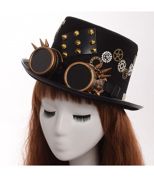Gothic Vintage Steam Punk Hat Gears Feather Goggles Top Hat Unisex Party Fedora