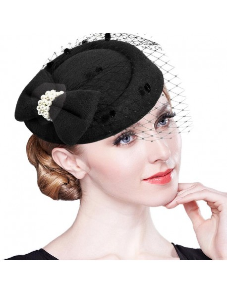 293ba07d0fb Elegant Fascinators Black Red Weddings Pillbox Hat For Women Straw Fedora Vintage  Ladies Church Dress Sinamay