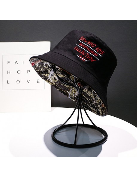 2f0c5bdeb LMB Fish Pattern Embroidery Vintage Cotton Men Fisherman Hats Casual  Outdoor Summer Autumn Women Bucket Hat Panama Fishing Caps