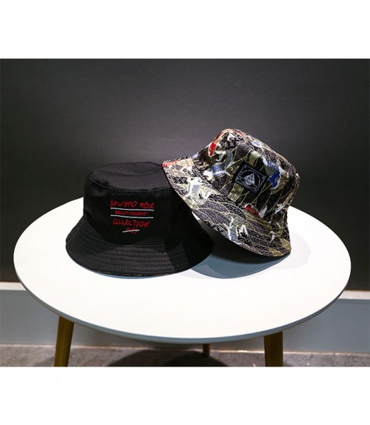 ea41a03ba LMB Fish Pattern Embroidery Vintage Cotton Men Fisherman Hats Casu...