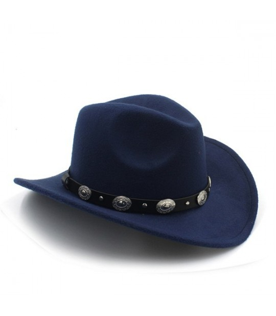 4d25cc60 ... New Vintage Wool Western Cowboy Hat For Womem Men Wide Brim Cowgirl  Jazz Cap With Leather ...