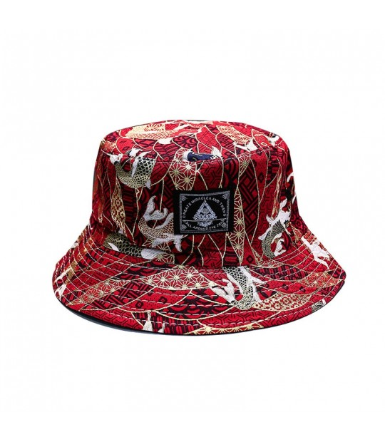 aa3a1398 ... LMB Fish Pattern Embroidery Vintage Cotton Men Fisherman Hats Casual  Outdoor Summer Autumn Women Bucket Hat ...
