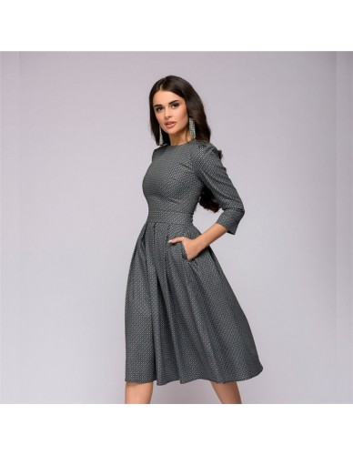 Women Dress 2019 Fall Printing With Pockets Casual Midi Party Dress Ladies Autumn Winter Three Quarter Vintage Christmas Dresses