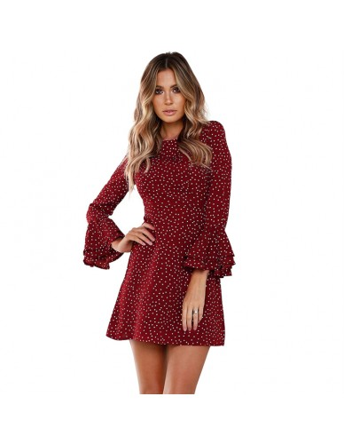 Vintage Polka Dot Dress Women Autumn Long Flare Sleeve Ruffles Vestidos Casual O-neck Black Bodycon Party Boho Dresses Mini 2018